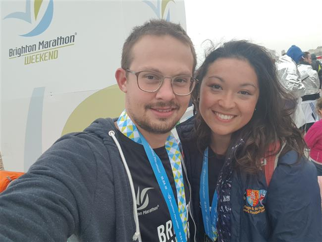 Juli and Theo doctors ran the Brighton Marathon and raised nearly £1000 for Guild Care