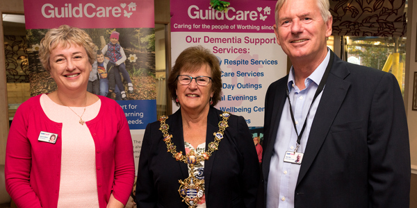 Guild Care CEO Suzanne Millard, Chairman Allan Reid, and the Mayor of Worthing at the Guild Care 2019 AGM