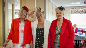 Guild Care Centre for older people - image of three ladies enjoying the Royal Wedding