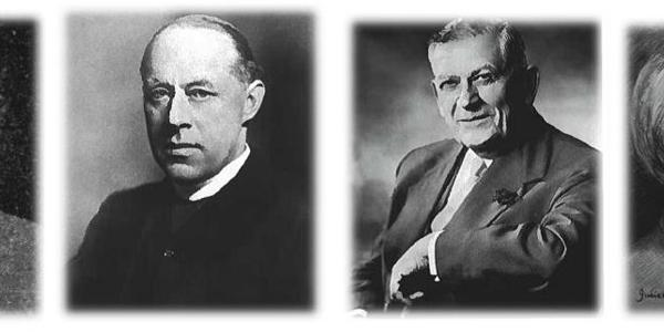 Collage image of Guild Cares founders: Effie Methold, E.A. Haviland, Arthur Linfield, and Frank Cave