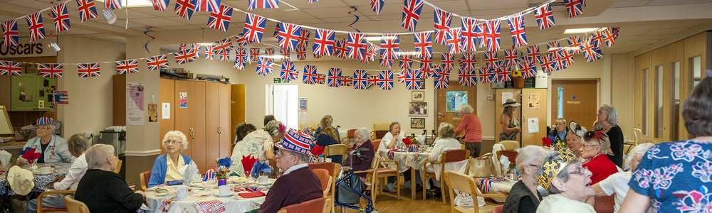 Methold Houses day centre decorated with bunting for the 2018 Royal Wedding