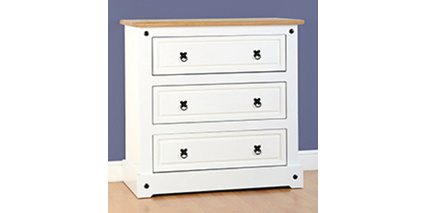 White set of three drawers from the Corona range